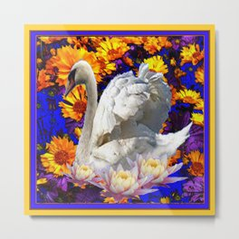 WHITE SWAN YELLOW-BLUE FLOWERS AQUATIC ART Metal Print