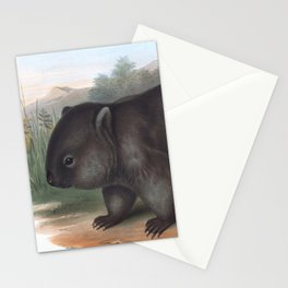 Wombat in the nature of Australia Stationery Cards