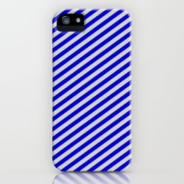 Blue & Light Grey Colored Stripes Pattern iPhone Case