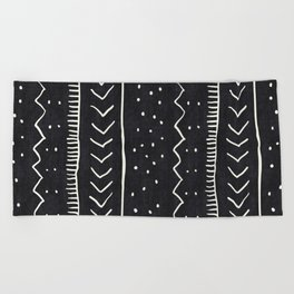 Moroccan Stripe in Black and White Beach Towel