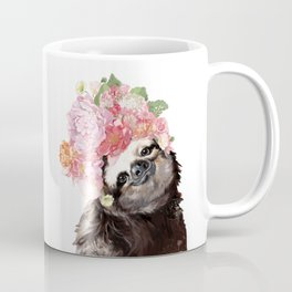 Sloth with Flowers Crown in White Coffee Mug