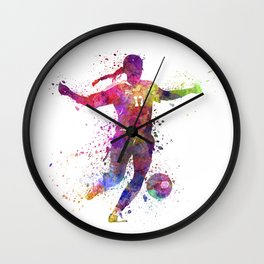 Girl playing soccer football player silhouette Wall Clock
