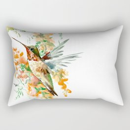 Hummingbird and orange flowers Rectangular Pillow