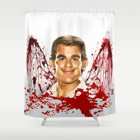 dexter Shower Curtains featuring Dexter by Giampaolo Casarini