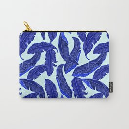 Banana leaves tropical leaves blue white #homedecor Carry-All Pouch