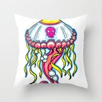 jelly fish Throw Pillows featuring Jelly Fish by KillianPB