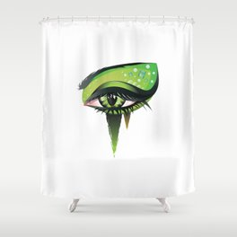 Green vampire eye makeup Shower Curtain