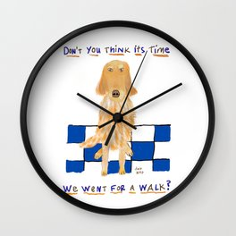 Golden Retriever Wants A Walk Wall Clock