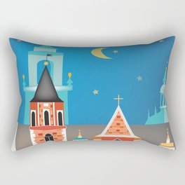 Krakow, Poland - Skyline Illustration by Loose Petals Rectangular Pillow
