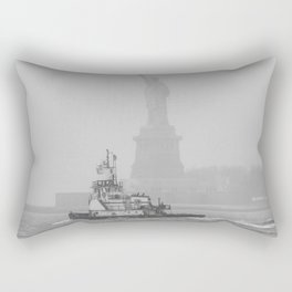 Tug Boat & Statue of Liberty in Black & White Rectangular Pillow