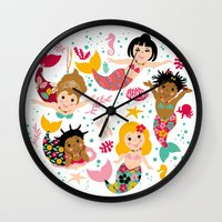 mermaids Wall Clocks featuring Mermaids by Helene Michau