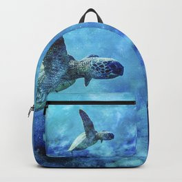 Sea Turtle Into The Deep Blue Backpack