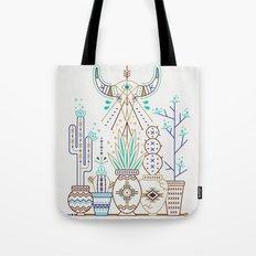 Santa Fe Garden – Turquoise & Brown Tote Bag