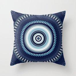 Indigo Boho Mandala Throw Pillow