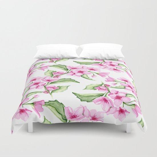 Sakura. Watercolor Duvet Cover