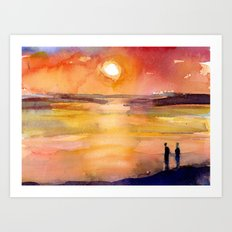 Sunset - Water Reflection and people Art Print