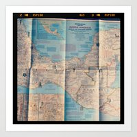 vintage map Art Prints featuring Map by Yellow Barn Studio