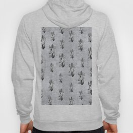 Abstract black white shine neon flowers on silver Hoody