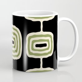 Mid Century Modern Atomic Rings Pattern 236 Black Beige and Olive Green Coffee Mug
