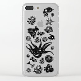 Cephalopods - Black and White Clear iPhone Case