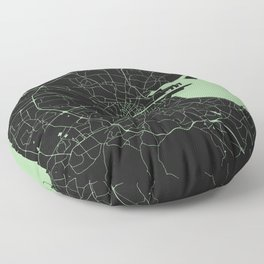 Dublin Street Map Black and Lime Green Floor Pillow