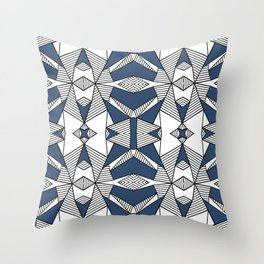 Triangle Tribal #2 Navy Throw Pillow