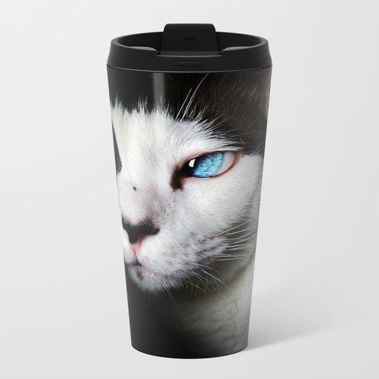 Cat siamese blue eyes Metal Travel Mug