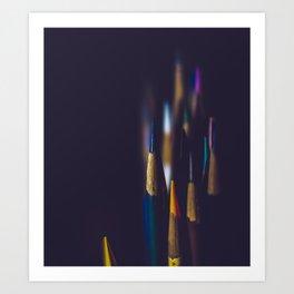 Colored Pencils Noir Art Print