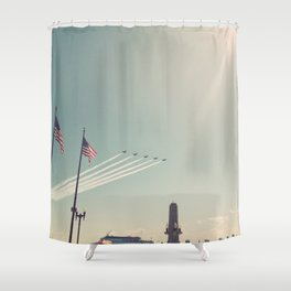 Blue Angel Jets Flying Color Photo Shower Curtain