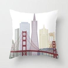 San Francisco skyline poster Throw Pillow