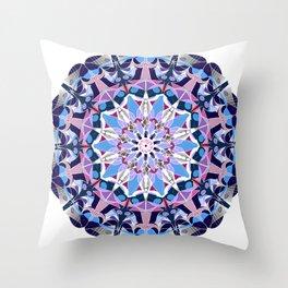 blue grey white pink purple mandala Throw Pillow