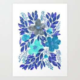 hand painted flowers_3 Art Print