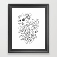 When the Petals Start Pouring Black & White Framed Art Print