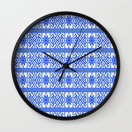 Blue ethno snowdrops Wall Clock