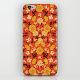 Vibrant Orange, Yellow & Brown Floral Pattern w/ Retro Colors iPhone Skin