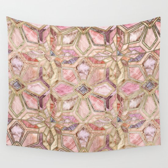 Pink Wall Tapestry geometric gilded stone tiles in blush pink, peach and coral wall
