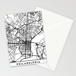 PHILADELPHIA PENNSYLVANIA BLACK CITY STREET MAP ART Stationery Cards