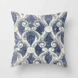 Vintage Blue Trellis Throw Pillow