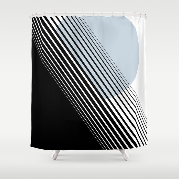 Rising Sun Minimal Japanese Abstract White Black Blue Shower Curtain ...