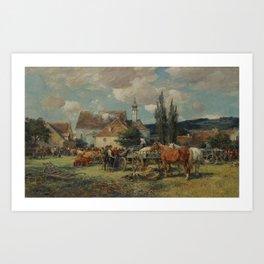 CATTLE MARKET IN DACHAU. Karl Stuhlmüller Art Print