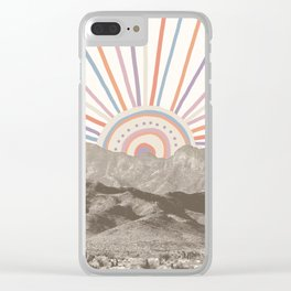 Summerlin Mountain // Abstract Vintage Mountains Summer Sun Vibe Drawing Happy Wall Hanging Clear iPhone Case