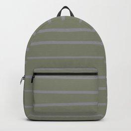 Grey and Dark Green Minimal Stripe Pattern Backpack
