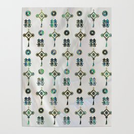 Gold and Abalone Shell Lucky Chinese Symbols  Pattern Poster