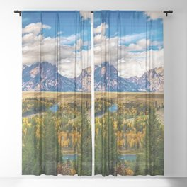 Snake River and Grand Tetons in Winter Sheer Curtain