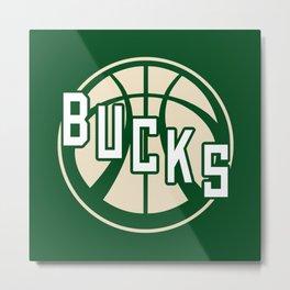Bucks basketball vintage green logo Metal Print