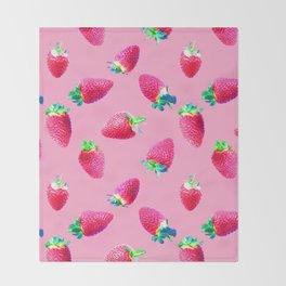 Pink Strawberry Pop Throw Blanket