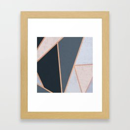 Modern Contemporary Rose Gold Textured Cool Tone Geometric Pattern Framed Art Print
