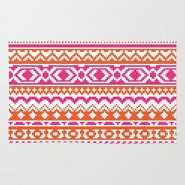 Orange and Hot Pink Aztec Pixel Pattern Rug
