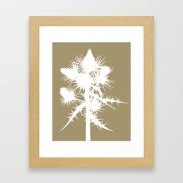 Thistle in Acorn Brown - Original Floral Botanical Papercut Design Framed Art Print