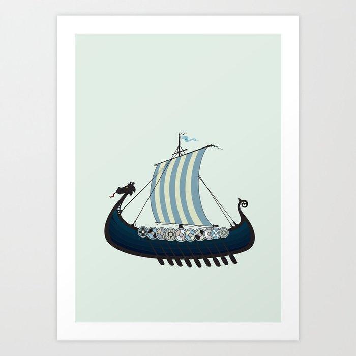 Blue viking ship Art Print